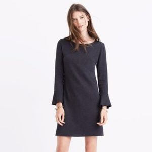 Madewell Knit Bell-Sleeve Shift Dress Deep Coal